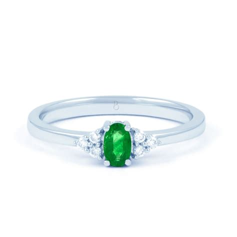 Emerald Ring by 18ct White Gold Emerald Engagement Ring 0 06ct