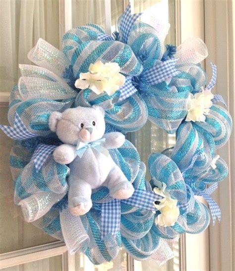 Baby Shower Wreath Tutorial by New Baby Boy Wreath Sweet Handmade Baby Boy Deco Mesh