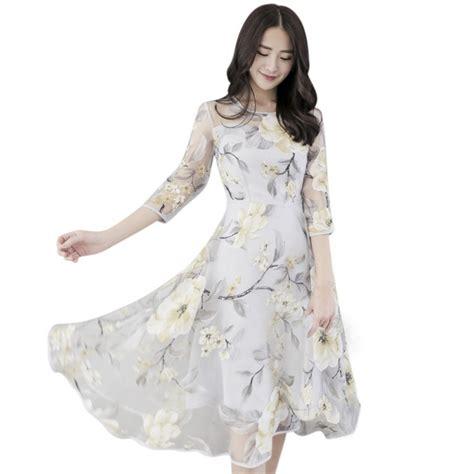 3 4 Sleeve Floral Dress summer boho dress floral 3 4 sleeve