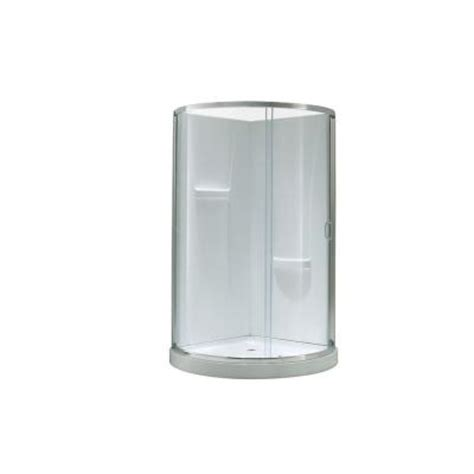 Ove Shower Base by Ove Decors 34 In X 34 In X 76 In Shower Kit With Reversible Sliding Door And Shower Base