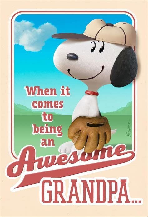 Peanuts® Awesome Grandpa Snoopy Baseball Father's Day Card