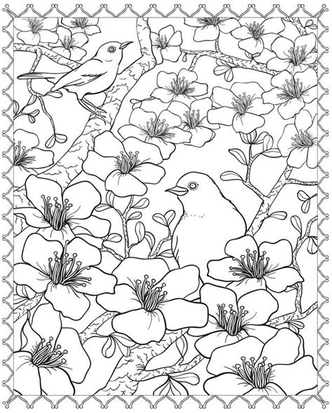 coloring pages japanese flowers wonderful 3d cherry blossom and birds adult coloring page