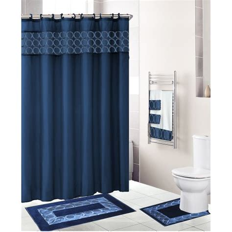 Navy Blue Bathroom Set Navy Blue 18 Bathroom Set Fabric Shower Curtain 12 Shower Rings Bath Ma Ebay