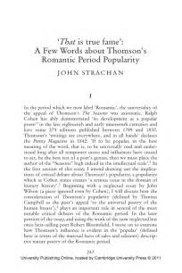 Define Humanities Essay by That Is True Fame A Few Words About Thomson S Period Popularity