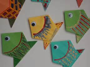 Easy Folding Paper Crafts - origami fish easycraftsforchildren