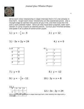Stained Glass Window Worksheet by Graphing Linear Equations Stained Glass Window Project By