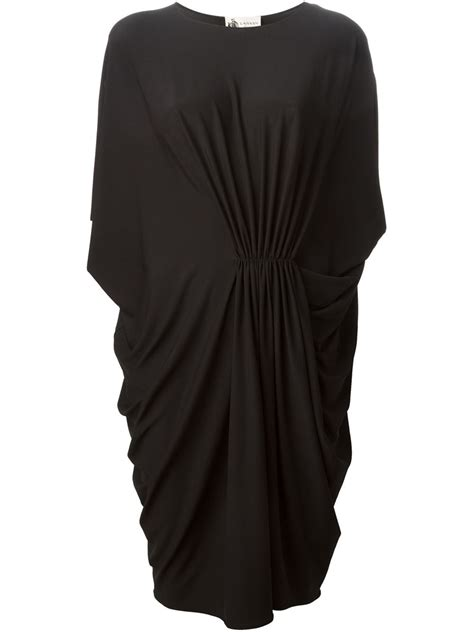 lanvin draped dress lanvin draped dress in black lyst