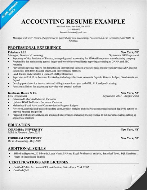 resume exle for accounting position free resume sles for accounting