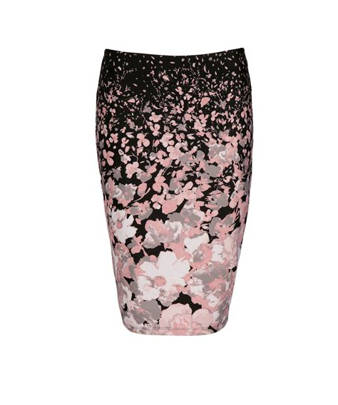 Floral Pencil Pink floral print pencil skirt rickis