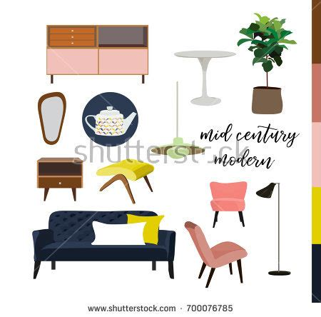 mid century home blueprint royalty free stock image vector mid century modern furniture home stock vector