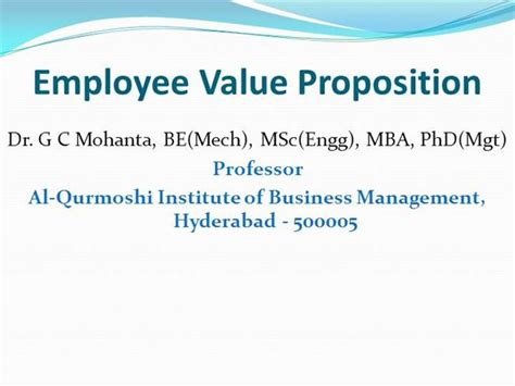 Value Of Mba To Employer by Employee Value Proposition Authorstream