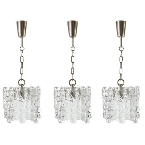 Chandelier And Pendant Sets Set Of Three Of Kalmar Glass Chandeliers Or Pendant