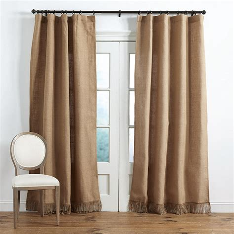fringed burlap curtains fringed burlap panel ballard designs
