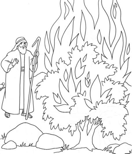 moses and the burning bush coloring pages coloring home