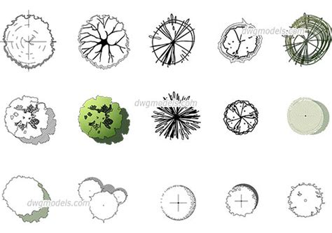 tree templates for autocad trees and plants dwg models free download