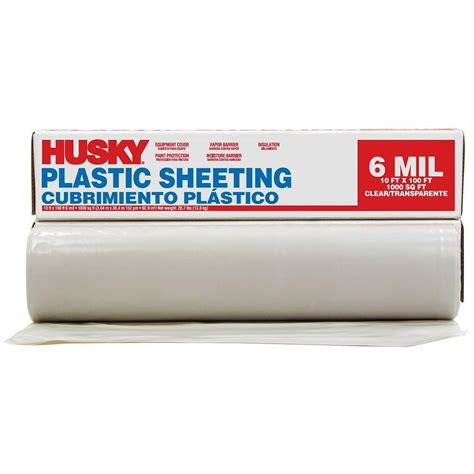 husky 10 ft x 100 ft clear 6 mil polyethylene sheeting