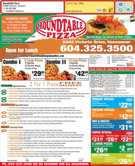 Roundtable Pizza Vancouver Bc 6942 Victoria Dr Canpages Table Pizza Menu