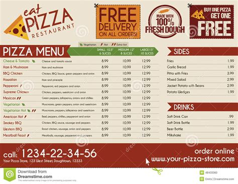 pizza menu design template pizza restaurant take away menu stock photo image 48433360