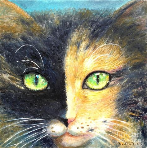 calico cat painting calico cat painting by shijun munns