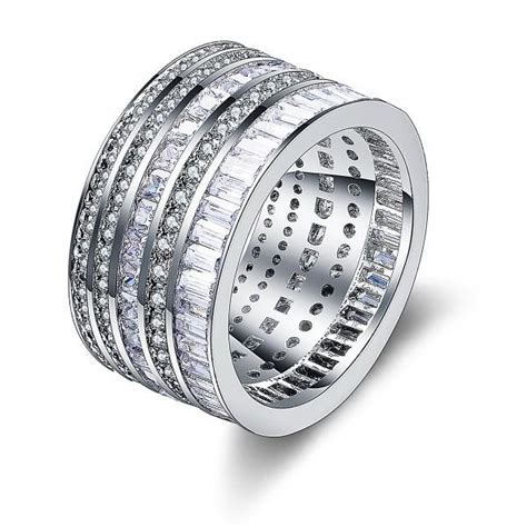 cubic zircon inlaid 925 sterling silver statement ring