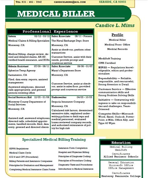 Allied Health Assistant Sle Resume by Candice L Mims Allied Student Resume Billing Medicalbilling Resumes Team
