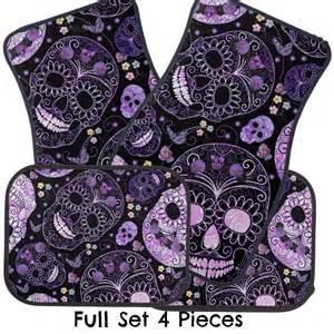 Car Floor Mats With Skulls Skull Car Floor Mats Sugar Skulls Black Purple Roses Floral