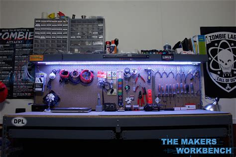 work bench lights rgb led under shelf bench lighting the makers workbench