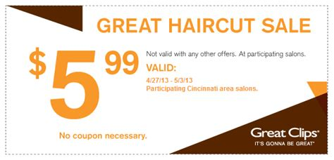 great clips haircut sale 699 samiconecom great clips the great haircut sale 5 99
