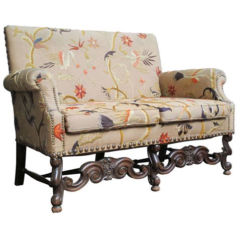 jacobean couch jacobean style settee with vintage crewel upholstery at