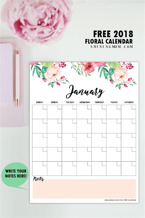 Free Printable Monthly Calendar Free Printable 2018 Monthly Calendar And Planner