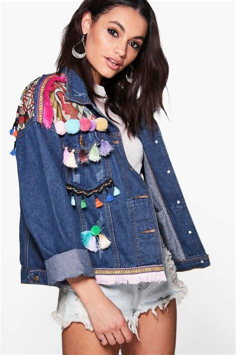 boutique lea embroidered pom pom denim jacket at boohoo