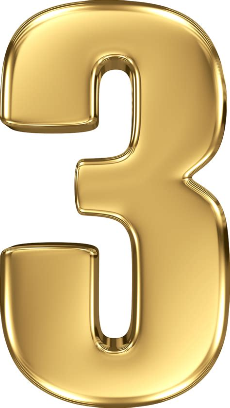 gold color number gold number 3 transparent png stickpng