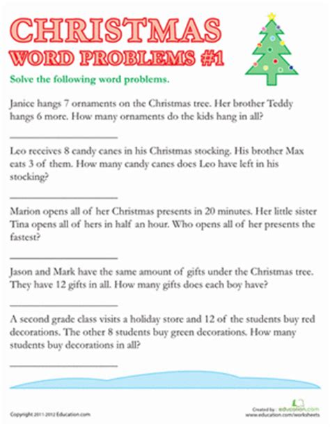 Home Decorating Games For Adults christmas word problems 1 worksheet education com