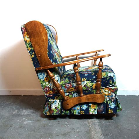wagon wheel chair vintage mid century rocker vintage 1960s floral upholstered