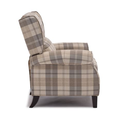 fabric recliner armchair eaton wing back fireside check fabric recliner armchair