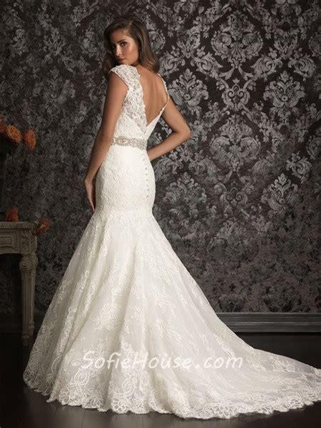mermaid cap sleeve v neck vintage lace beading wedding