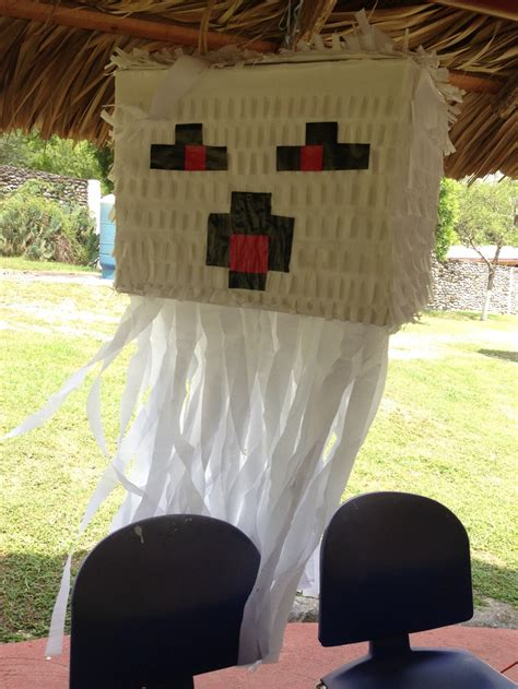 Diy Pinata Ghast Minecraft Forrar Cajan Papel Lustrina