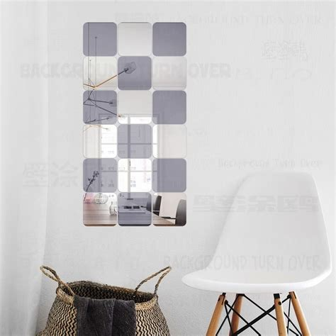 2 pcs smiley toilet stickers bedroom living room square decorative 3d acrylic mirror wall stickers living