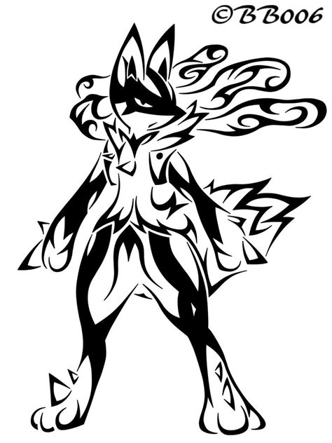 pokemon coloring pages of mega lucario tribal mega lucario by blackbutterfly006 on deviantart