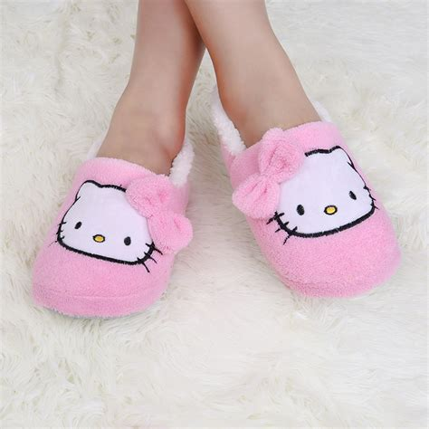 hello kitty house shoes מוצר 2016 winter home slippers bowtie hello kitty slippers women bedroom soft