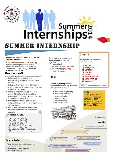 summer entertainment internships announcements 171 sardar patel institute of technology