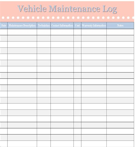 maintenance log template vehicle maintenance log template sweet tea proper
