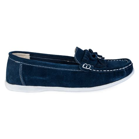flat navy blue shoes new womens navy blue faux suede flat moccasins