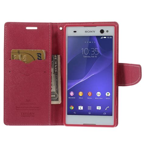 sony xperia c3 pink goospery fancy wallet case