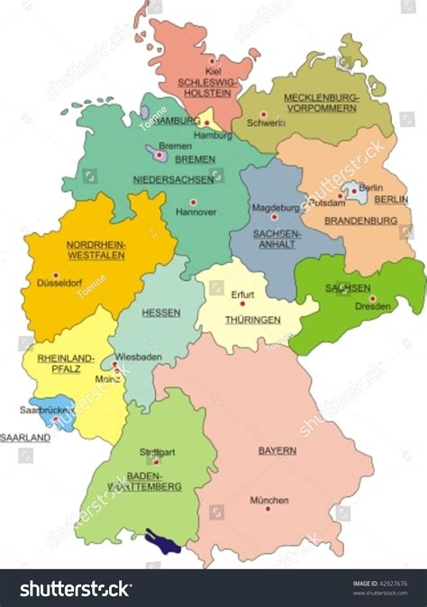 german states and capitals map map germany national boundaries national capitals stock