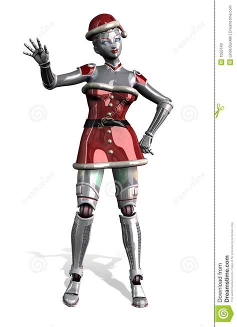 christmas robot waving  clipping path stock