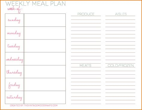daily menu template 5 daily meal plan template authorizationletters org