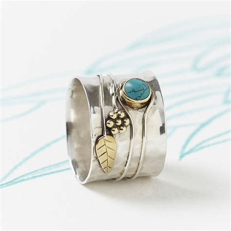 Handcrafted Silver - turquoise silver flower ring by s web jewellery