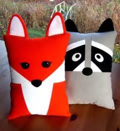 animal pillows fox raccoon pillow pattern pdf sewing tutorial baby