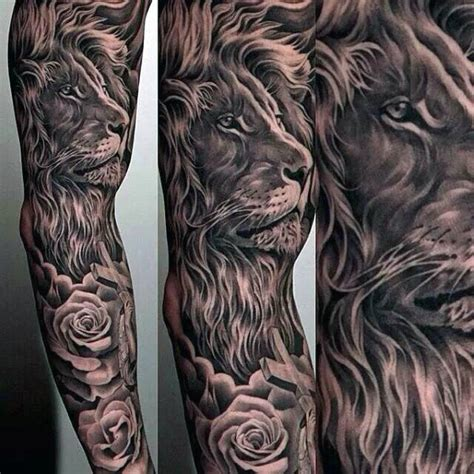 60 lion sleeve tattoo designs for men masculine ideas